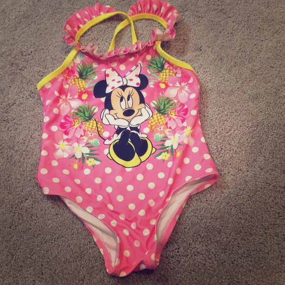 Disney Infant Girls Pink Polka Dot Ruffle Minnie Mouse 1 Pc Tutu Swimming Suit